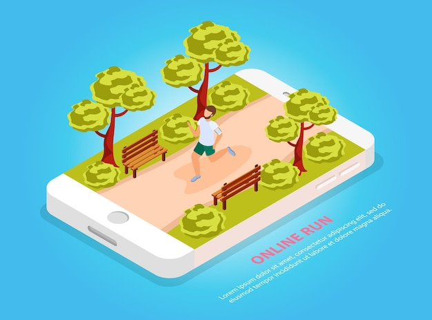 City people workout online run community isometric composition with jogger in park on mobile screen