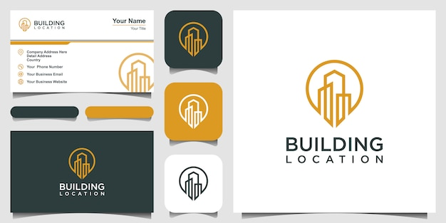 City pin logo design element. logo design and business card.