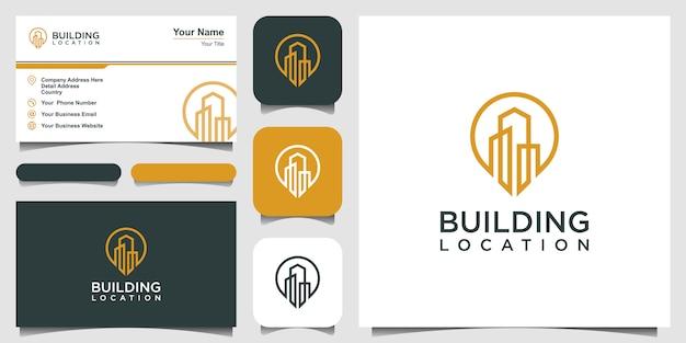 City pin logo design element. logo design and business card.