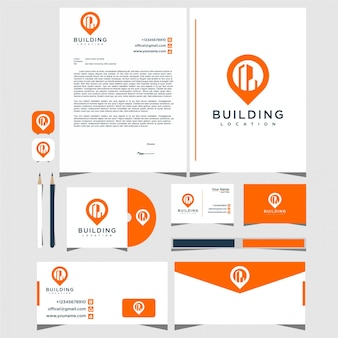 City pin logo design with stationery