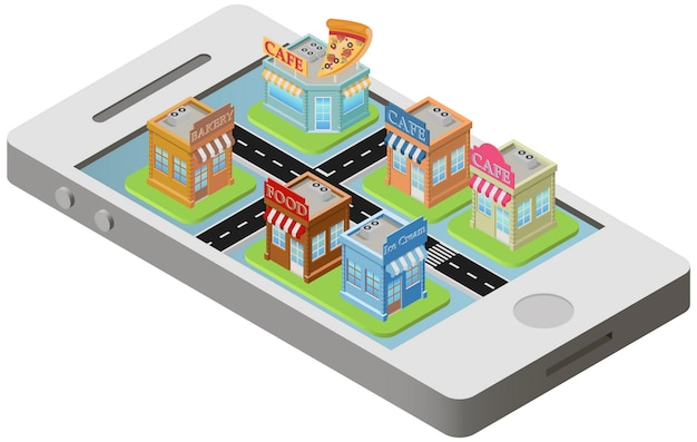 City plan isometric on smartphone