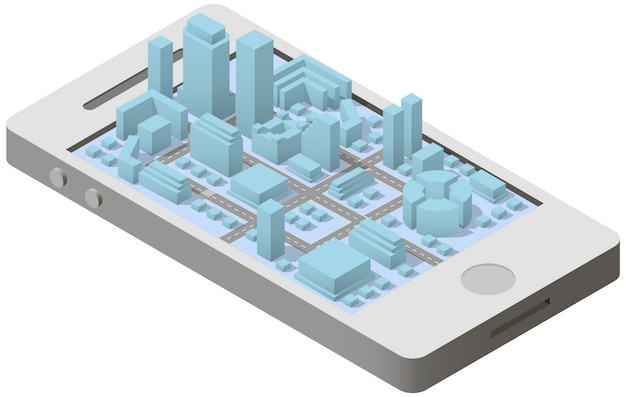 City plan isometric on smartphone