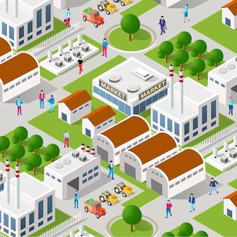 都市植物工場産業アイソメトリック都市設計要素
