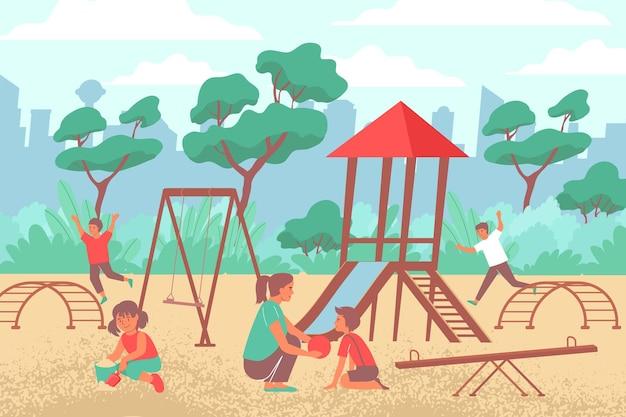 Composizione piatta del parco giochi cittadino di uno scenario all'aperto con paesaggio urbano e attrezzature da gioco con bambini e illustrazione della madre