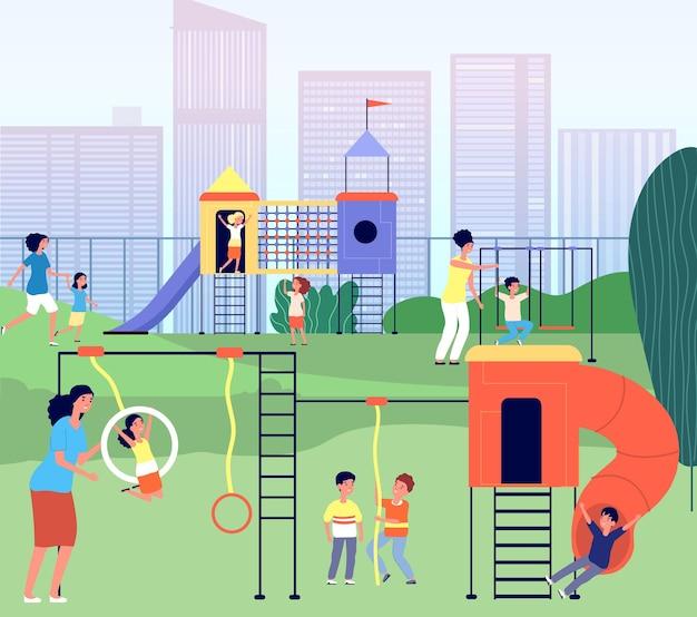 市の遊び場。幼稚園公園、母親の野外活動を伴う夏の赤ちゃん。幼児のお母さんのレクリエーション、家族のレジャーのベクトル図です。子供のための遊び場と幼稚園の風景