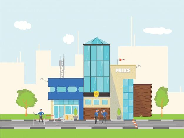 市警察署の建物の風景です。