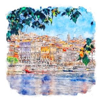 シティポルトポルトガル水彩スケッチ手描きイラスト