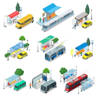 City public transport isometric 3d set