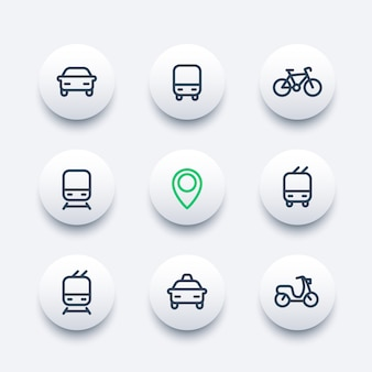 City and public transport round modern icons, public transportation vector icons, bus, subway, taxi, public transport pictograms, thick line icons set,