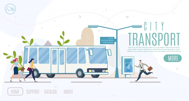 City public transport service vector website