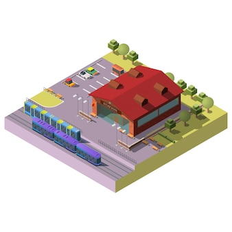 City railway station building isometric