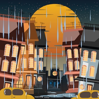 City in rainy day vector illustration