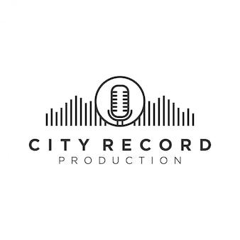 Логотип city record для индустрии звукозаписи и литья