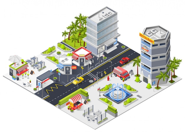 City restaurants and cafe isometric composition