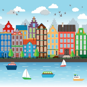 City on river. embankment near the beautiful architectural ensemble. vector illustration