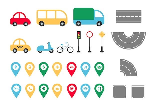 City road elements set town map constructor flat transport car bus truck taxi bike map pointer