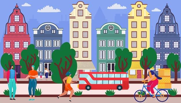 家のベクトルイラストフラット男性女性キャラクターと都市道路町の通り都市buildiの近くを歩く...