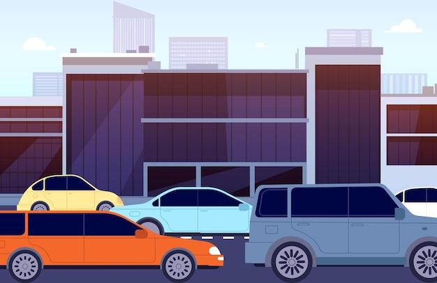 Городская пробка. улица мультяшных машин, утро в центре города. городской перекресток панорамный с автомобилями, городское шоссе векторные иллюстрации. автомобиль дорожного движения, городская улица с остановкой транспортного средства
