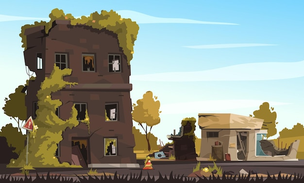 City ruins with destroyed abandoned buildings in war zone cartoon