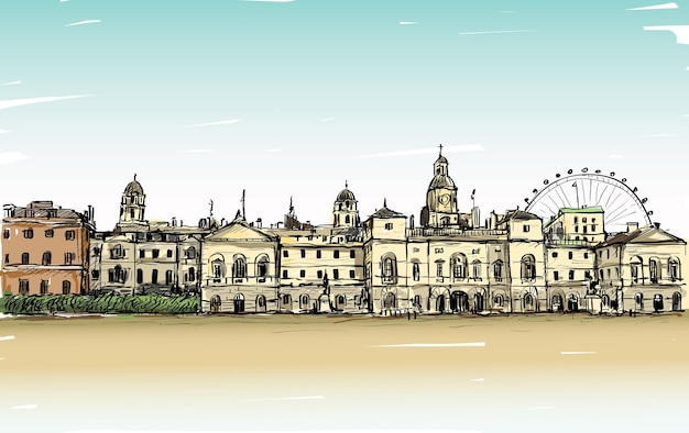 City scape drawing in london, england, show old castle and carousel, illustration
