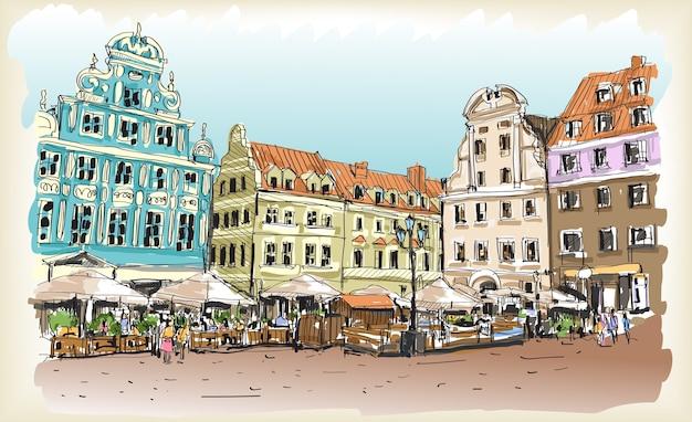 ポーランドのダウンタウンの街並み図面スケッチ