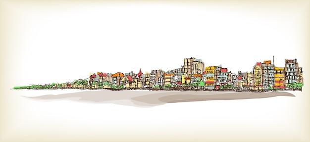 Рисование от руки городского пейзажа, город ханой и иллюстрация