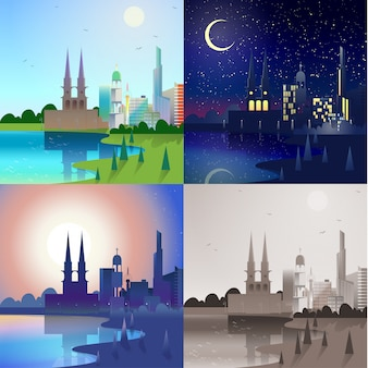 City scape historic castle tower building skyscrapers river bank scene set day night sunset retro vintage landscape backgrounds