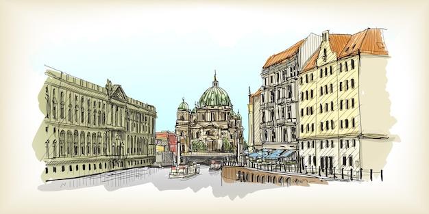 Городской пейзаж в германии. берлинский собор. старое здание рисованной эскиз иллюстрации