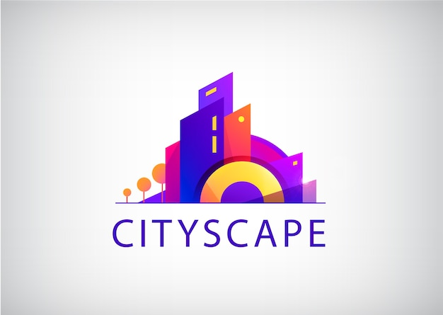 City scape logo isolated on gray