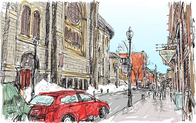 カナダ、ケベック州の町の通りの街並みスケッチ