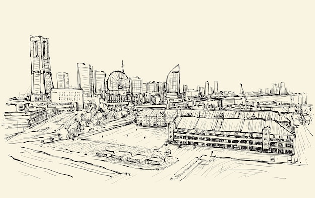 City scape skyline of yokohama in japan free hand drawing