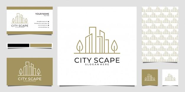 Городской пейзаж с дизайном логотипа в стиле line art и визитной карточкой