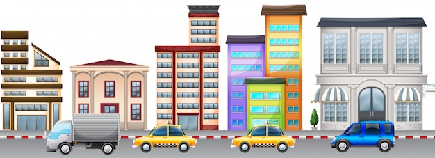 City scene background with buildings and cars on road
