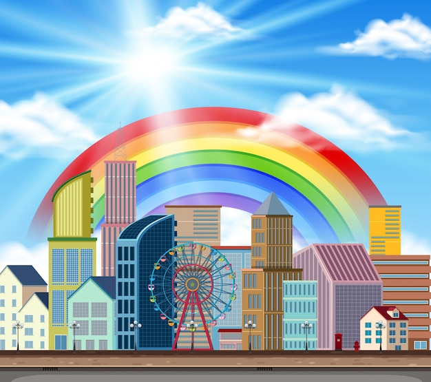 City scene with buildings and rainbow