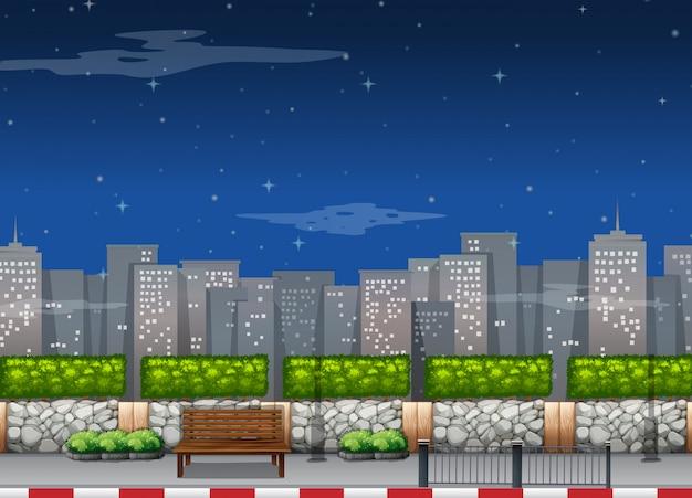 밤에 고층 빌딩으로 도시 현장