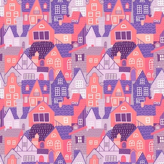 City seamless colorful pattern with hand drawn old european houses at spring.