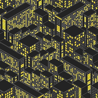 City seamless pattern. endless night urban town. the yellow light in the windows. black abstract isometric backgrounds. vector illustration.
