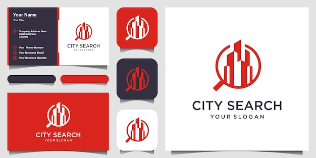 City search city in a magnifying glass logo template skyscrapers and magnifier vector design