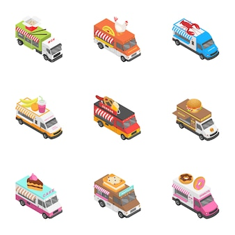 City service icons set, isometric style