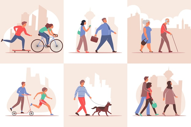 City set of compositions with cityscape silhouette backgrounds and walking people characters of different age