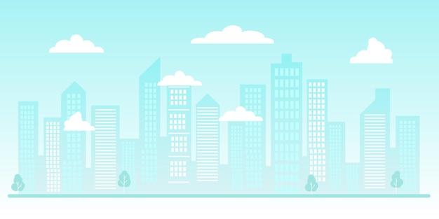 都市のシルエットまたは都市の背景高層ビルと高層ビルの雲のある近代的な都市
