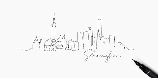 Силуэт города шанхай в стиле линии пером, рисунок с черными линиями на белом фоне