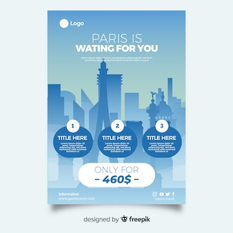 City silhouette travel poster template