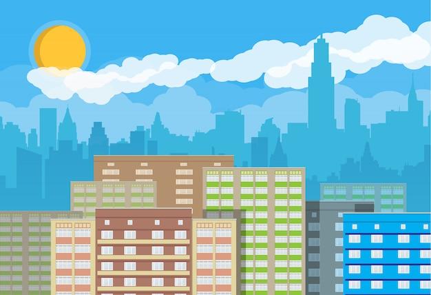 Городской пейзаж в день Premium векторы