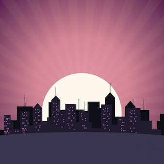 都市のスカイラインの建物の高層ビルの日没の眺め