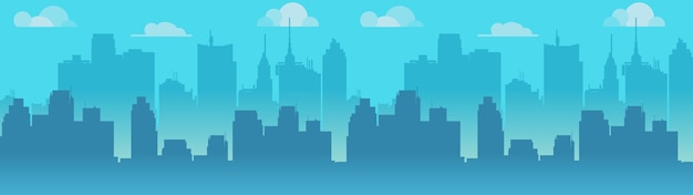 City skyline illustration, blue city silhouette.
