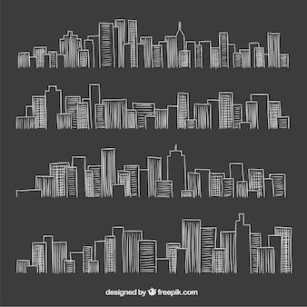 칠판 스타일의 도시 스카이 라인