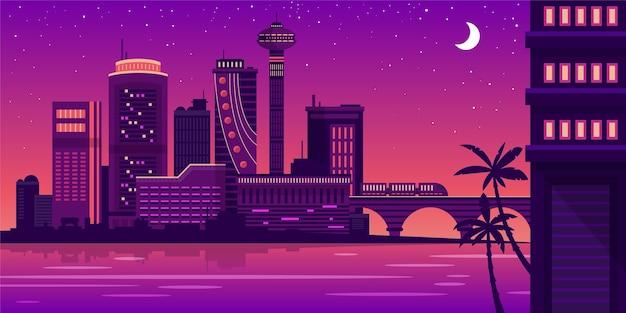 City skyline landmarks illustration