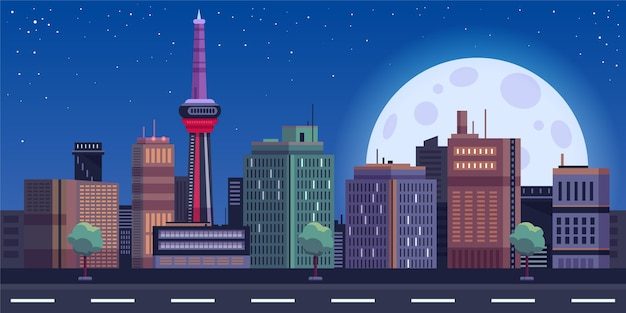 City skyline landmarks illustration