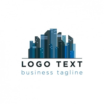 City skyline logo in blue tones